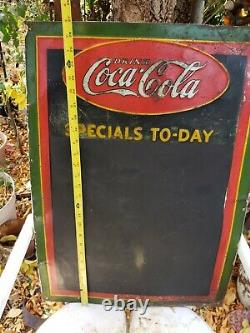 Vintage Coca Cola Chalkboard Menu Board Specials To-Day Old Tin Sign 27 x 19