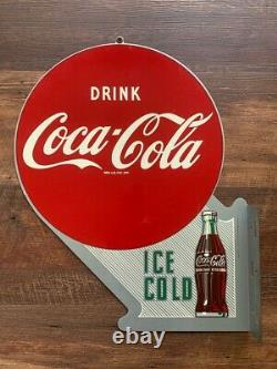 Vintage Coca-Cola Coke Double Sided Flange Sign Limited Reissue Rare Collectable