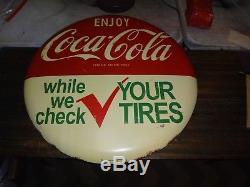 Vintage Coca Cola Coke Metal 24 Sign-Gas Station-Good Condition