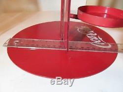 Vintage Coca-Cola Coke Metal Store Display / Bottle Step Rack with Button Sign