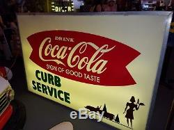 Vintage Coca-Cola Double Sided Lighted Sign from 1940's