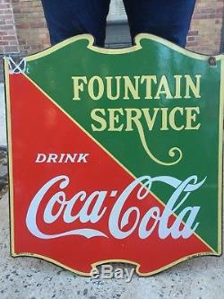 Vintage Coca Cola Double Sided Porcelain Fountain Service Sign 1933
