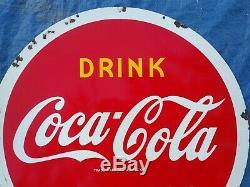 Vintage Coca Cola Double Sided Porcelain Lollipop Sign USA 1941