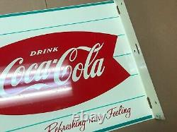 Vintage Coca Cola Fishtail Flange Sign New Old Stock almost mint