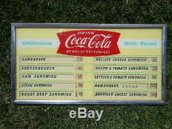 Vintage Coca Cola Fishtail Menu Board Sign Coke 1960s diner cafe movie theater