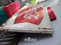 Vintage Coca Cola Fishtail Sign o Good Taste Soda Pop Old Coke Advertising Metal