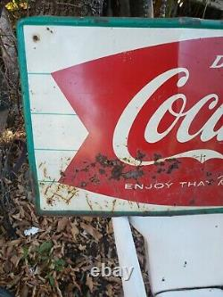 Vintage Coca Cola Fishtail sign soda original
