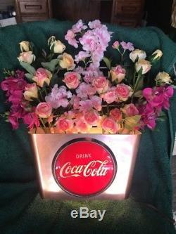 Vintage Coca-Cola Floral Light-Up Basket 1950's