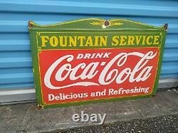 Vintage Coca- Cola Fountain Service Porcelain Sign 1940's