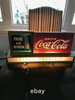 Vintage Coca Cola Fountain Shop Light Up Rare Waterfalls Pause & Refresh Sign