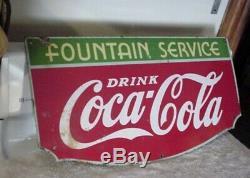 Vintage Coca Cola Fountian Service Porcelain Sign