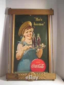 Vintage Coca-Cola Kay Bottle And Leaf Cardboard Advertising Frame 21x32