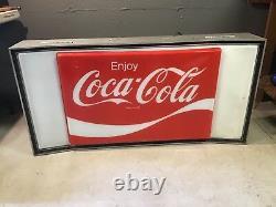 Vintage Coca-Cola Large 1970s Light Up Sign Soda Advertising Coke 24 X 48 1/2