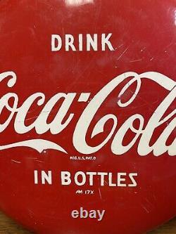 Vintage Coca Cola Metal Button Sign 12 AM 17X