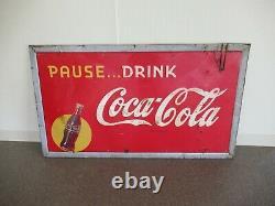 Vintage Coca Cola Pause. Drink Coca Cola Embossed Meal Sign (6-1947) 56 x 32