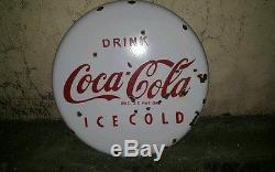 Vintage Coca Cola Porcelain 18 Button Sign