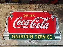 Vintage Coca Cola Porcelain Fountain Service Sign 1941