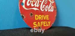 Vintage Coca Cola Porcelain Glass Bottles Gas Soda Beverage Service Station Sign