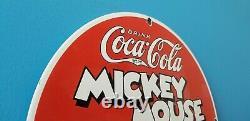 Vintage Coca Cola Porcelain Mickey Mouse Gasoline & Oil Pump Plate Sign