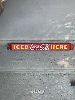 Vintage Coca Cola Porcelain Push Bar Advertising Sign