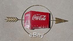 Vintage Coca-Cola Sign 1938 Kay Displays Cooler & Arrow sign RARE HARD TO FIND