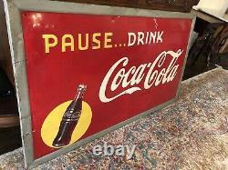 Vintage Coca Cola Sign 1947 56 X 32 Embossed