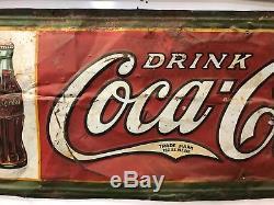 Vintage Coca Cola Sign, Drink Coca Cola Old Original 1930s Vintage Metal Sign