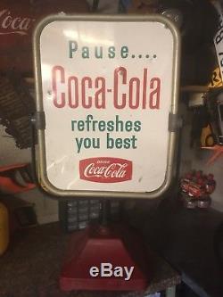 Vintage Coca Cola Sign Original Outdoor Weighted Shop Ad Coke Advertising