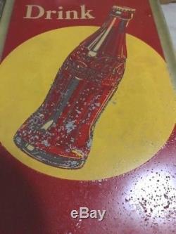 Vintage Coca Cola Sign, Pause Drink Coca Cola Old Original Vintage Metal Sign