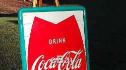 Vintage Coca Cola Soda Drink Vert Refreshing Feeling Fishtail Bottle Sign Rare