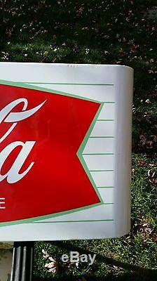 Vintage Coca Cola White with Red Fishtail Sled Sign