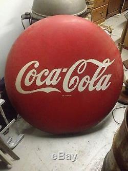 Vintage Coca Cola button sign NR! 36 Inch Very Rare