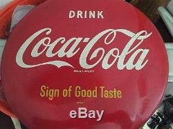 Vintage Coca Cola button sign with arrow