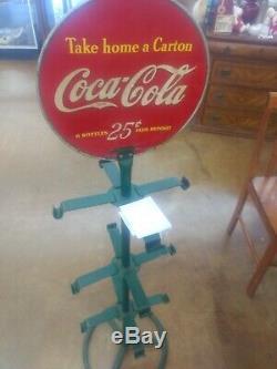 Vintage Coca Cola take home a carton sign Plus 6 pack rack holder, 40s 50s