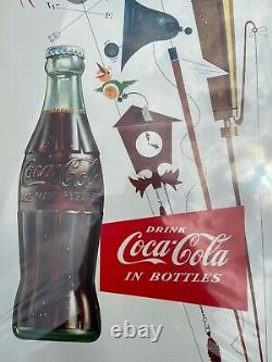 Vintage Coca-cola 1955 Cardboard Sign Pause