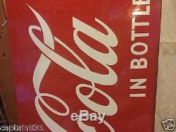 Vintage Coke Coca Cola 43 Single Sided Metal Sign Sled Old