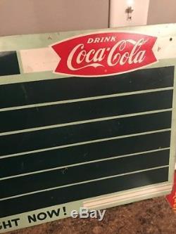 Vintage Coke Coca Cola Masonite Menu Board Sign 7up Coca Cola Decor Rare