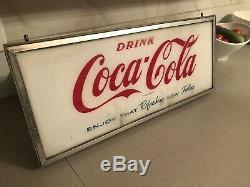 Vintage Coke Machine Sign Coca Cola Door Display Sign Metal Frame Authentic
