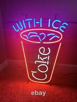 Vintage Coke With Ice Neon Sign