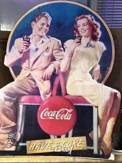 Vintage Coke a Cola Cardboard Advertising sign Vintage Extremely Rare One