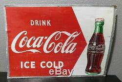 Vintage DRINK ICE COLD COCA COLA Coke Soda Pop Metal Sign ROBERTSON RARE