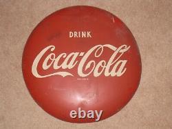 Vintage Drink Coca Cola 16 Round Metal Sign Marked AM57