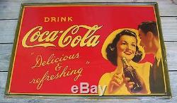 Vintage Drink Coca Cola 1942 Metal Sign Great Condition, Delicious and refr
