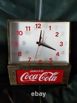 Vintage Drink Coca-Cola Clock Light Lamp Sign Coke Antique Advertising