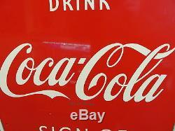 Vintage Drink Coca Cola Fishtail Bottle Good Taste Large Vertical 53x17.5 Sign