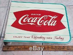 Vintage Drink Coca Cola Flange Fish Tail Sign AM 32 Soda Pop Coke Enjoy