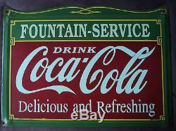 Vintage Drink Coca-Cola Fountain Service Porcelain Enamel Sign
