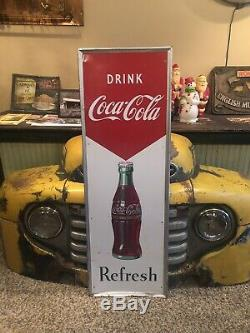 Vintage Drink Coca Cola Refresh Vertical Metal Sign 54 X 18 Gas Oil Soda Pop
