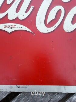 Vintage Drink Coca Cola Sign, 1939 Coca Cola Sign, Coke Sign, Yellow Dot Coke