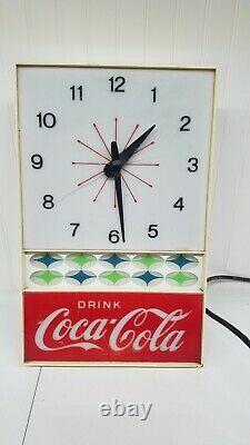 Vintage Drink Coca Cola Wall Clock Electric Lighted Atomic restoration/parts